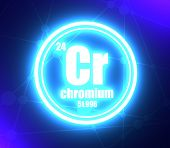 Chromium Chemical Element. Sign With Atomic Number And Atomic Weight. Chemical Element Of Periodic T poster