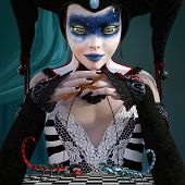 Zodiac Series - Scorpio As A Beautiful Harlequin Playing With Two Scorpions - 3d Digital Painted Ill poster