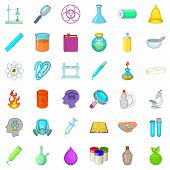 Laboratory Icons Set. Cartoon Style Of 36 Laboratory Icons For Web Isolated On White Background poster