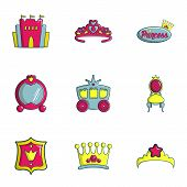 Princess Things Icons Set. Flat Set Of 9 Princess Things Icons For Web Isolated On White Background poster