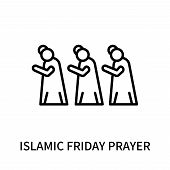 Islamic Friday Prayer Icon Isolated On White Background. Islamic Friday Prayer Icon Simple Sign. Isl poster