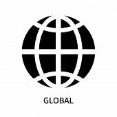 Global Icon Isolated On White Background. Global Icon Simple Sign. Global Icon Trendy And Modern Sym poster