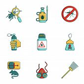 Remedy From Insects Icons Set. Cartoon Set Of 9 Remedy From Insects Icons For Web Isolated On White  poster