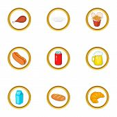 Tasty Food Icons Set. Cartoon Set Of 9 Tasty Food Icons For Web Isolated On White Background poster