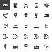 Taxi Service Vector Icons Set, Modern Solid Symbol Collection, Filled Style Pictogram Pack. Signs, L poster