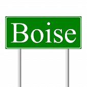 image of boise  - Boise green road sign isolated on white background - JPG