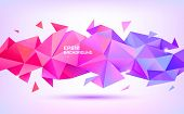 Vector Abstract Geometric Low Poly 3d Shape. Origami Facet Style Banner, Background. Purple And Red  poster