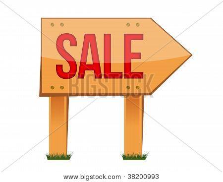 Wooden Sale Sign Illustration