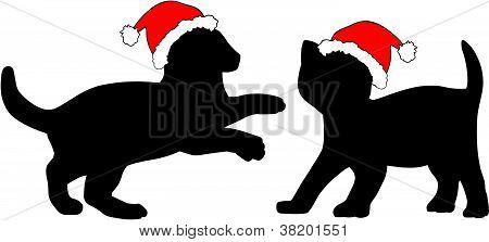 Dos gatitos en sombreros de la Navidad