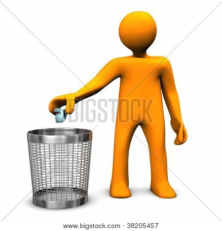 Wastebasket Orange Toon