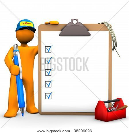 Clipboard Electrical Worker