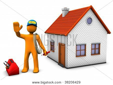 Electrician With House