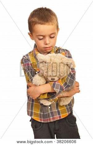 Sad Alone Boy With Teddy Bear