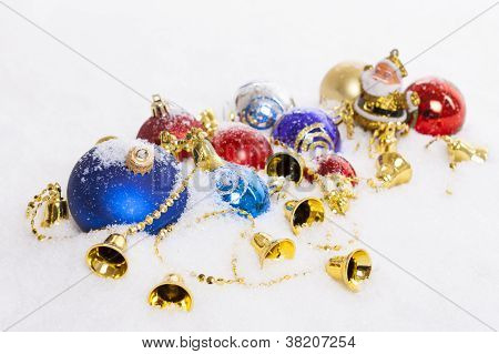 Santa Claus Figurine And Christmas Balls