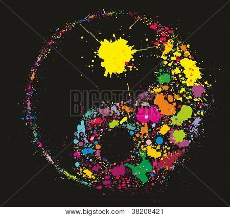Grunge Yin Yan Symbol Made Of Colourful Paint Splashes On Black Background