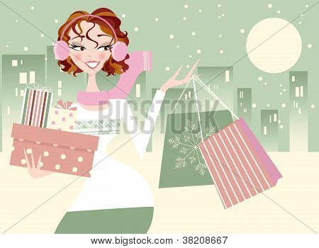 Christmas Shopper with City Background