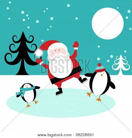 Santa and Penguins Skating