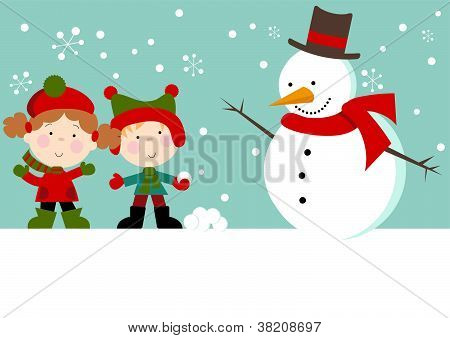 Snow Kids with Snowman