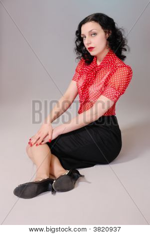 Retro Pin-Up Girl In Red Blouse