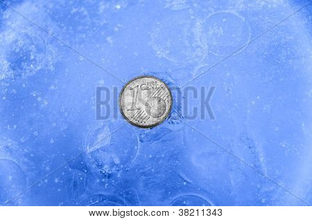 1 Silver Euro Cent Coin In Ice