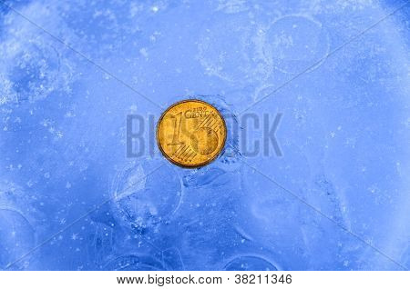1 Gold Euro Cent Coin In Ice