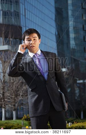 Young businessman standing and talking on mobile phone
