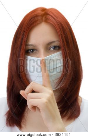 The Girl In A Medical Mask, Gesture Asks Silence, Isolated Over White