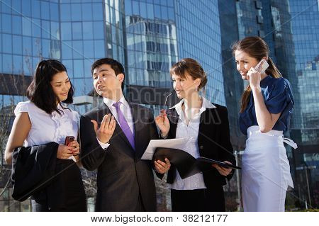 Group of business people meeting outdoor