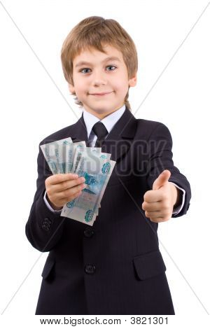 The Boy Holds Money In Hands, Isolated Over White
