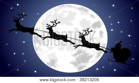 Santa Claus driving his sleigh