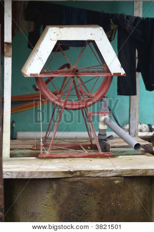 Water Well Utilizing A Turn Wheel In Nicaragua