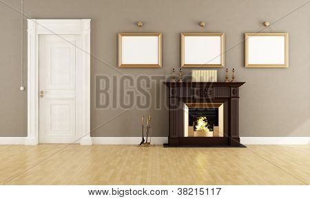 Classic Livingroom With Fireplace
