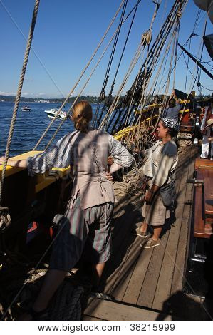 The Crew Sets The Sails Of The Lady Washington