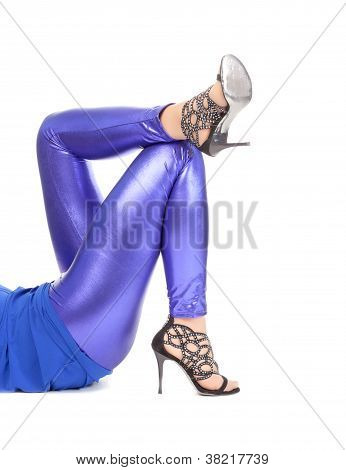 Sexy Stylish Legs In Shimmering Blue Leggins