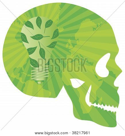 Skull Think Green With Lightbulb Illustration