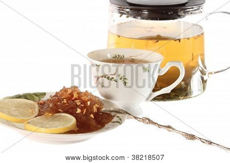Tea With Apple Jam  And Lemon Isolated