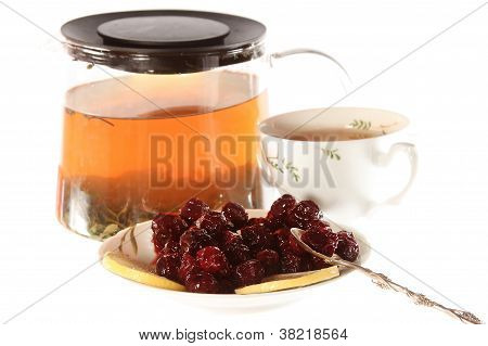 Tea With Cherry Jam And Lemon Isolated