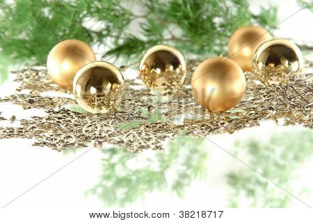 Christmas Decoration Composition With Firtree And Balls
