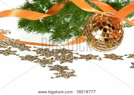 Golden Ball With Orange Ribbon And Firtree Garland