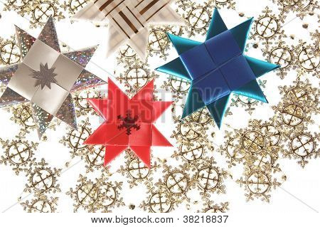 Origami Stars Postcard On The Snowflake Garland