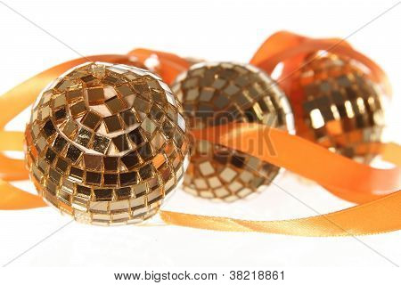 Three Golden Balls With Orange Ribbon