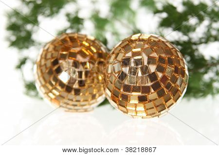 Two Christmas Balls On The Firtree