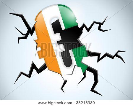 Euro Money Crisis Ireland Flag Crack On The Floor