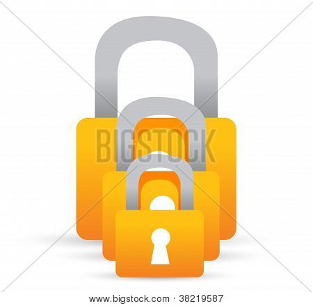 Set Of Lock Illustration Design