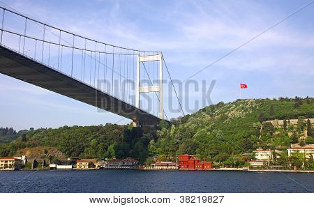 Fatih Sultan Mehmet Bridge Over The Bosphorus Strait In Istanbul