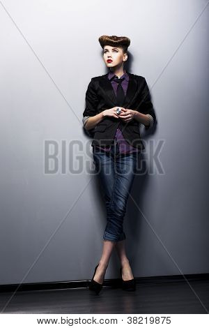 Pinup Girl In American Retro Style In Vintage Tie, Shirt, Jacket