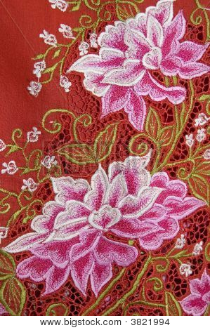 Red Kebaya Cloth With White Flowers