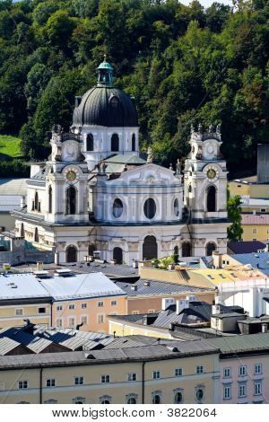 The Aerial View Of Salzburg City, Austria