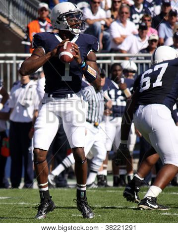 Penn State quarterback #1 Robert Bolden throws a pass