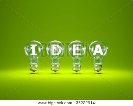 Word idea inside light bulbs